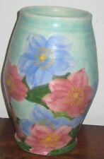 RADFORD POTTERY VASE VIBRANT HAND PAINTED FLOWERS turquoise PASTEL ground