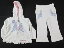 GUESS BABY GIRLS 2-pc WHITE VELOUR HOODIE SWEATER & SWEAT PANTS 18 MONTH NEW