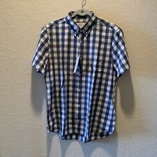 mizzen main large trim, men, blue and white checkered button down 4 way stretch