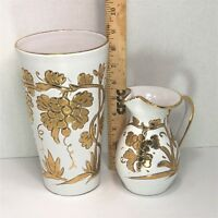 "Matching GOLD Raised Grape Vines 9"" Vase 5 1/2"" Pitcher Italy Handmade & Painted"