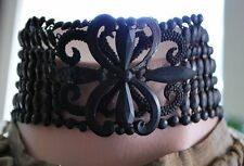 1890 HIGH VICTORIAN BLACK JET WIDE CHOKER NECKLACE