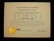 1969 Denver Broncos Certificiate of Appreciation from The National Foundation