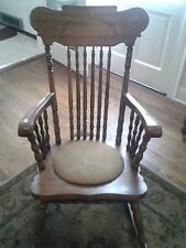 Antique Solid Oak Rocking Chair w Detailed Carvings