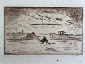 Schöne Lithographie von Emil Orlik Ägypten