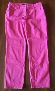 GERRY WEBER Lolly Musk Pink Stretch Cotton Straight Leg Cropped 3/4 Jeans 42 (8)