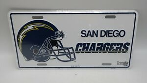 NOS 1993 Metal Embossed Front License Plate Car Tag San Diego Chargers NFL