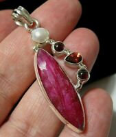 Beautiful Sterling Silver Natural Ruby & Garnet Gem Stone Large Necklace PENDANT