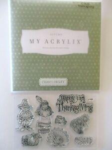 CTMH THANKSGIVING Acrylix Stamp PILGRIMS Pumpkins TURKEY Acrylic