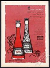 1962 Spice Îles Blanc Vin et Rouge Vinaigre Illustrée Vintage Imprimé Annonce
