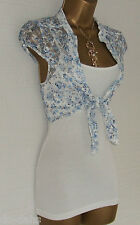 NEW JANE NORMAN Ice Blue White Ditsy Rose Floral Lace Shrug + Vest Small Size 12