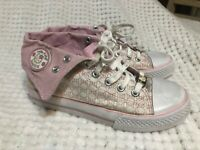 Girls Hello Kitty Pink White Sparkling Canvass Hi-tops Sz 2  Youth Kids Sanrio
