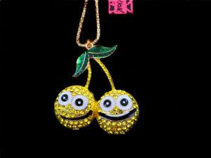 Betsey Johnson Yellow Crystal Enamel Cartoon Cherry Pendant Long Chain Necklace