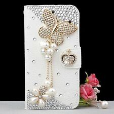 3D Bling Crystal Diamonds Pearls PU leather flip slots stand wallet case cover 7