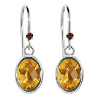 1.43 Ct Oval Checkerboard Yellow Citrine Red Garnet 925 Sterling Silver Earrings