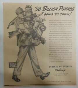 Central Georgia Railroad World War Two Ad:Tons of Food 1943 Size: 10 x 11 inches