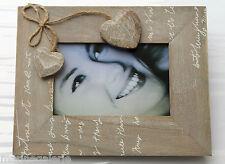 Cadre photo bois coeurs neuf 10x15 pastel à poser aspect brut décoration mode