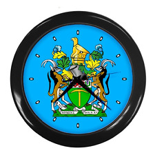 RHODESIA COAT OF ARMS CREST RHODESIAN FLAG WALL CLOCK  **GREAT GIFT IDEA**
