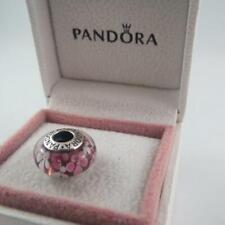 Pandora Pink & Brown Flowers Murano Glass Charm (S925 ALE) (C8)
