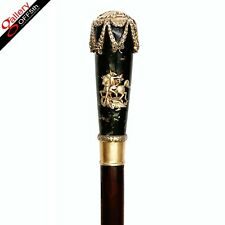 Faberge Imperial Russian 88 Silver 84 Seraphinite Emerald Cane Walking Stick Hw