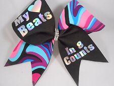 My Heart Beats in 8 Counts Cheer Bow BlingItOnCheerBowz pinks/Purples