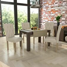 Dining Table & 4 Chairs Set Wood Fabric Dining Room Kitchen Walnut Cream and Oak