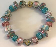 ❤️European CHARM BEADS BRACELET Pink Blue Bead Sterling Silver Plated Chain #3❤️