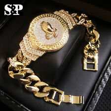 "Hip Hop Gold Plated 8.5"" CZ Full Iced Out Praying Hands Rapper's Cuban Bracelet"