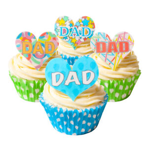 Mixed Pack of 12 Pre-Cut Edible Wafer Decorations - DAD Celebration Heart Topper