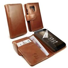 Fundas con tapa color principal marrón de piel para teléfonos móviles y PDAs
