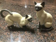 Vintage Andrea by Sadek Siamese Cat Figurine LOT TWO Pair #8290 Blue Eyes