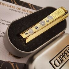 24K Gold Plated Metal Rose Pattern Clipper Lighter Gas Flint Refillable Gift Box