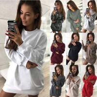 Fashion Womens Winter Casual Long Sleeve Sweater Mini Dress