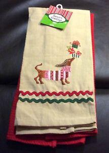NWT Brown Dachshund Dog Christmas Kitchen Towels