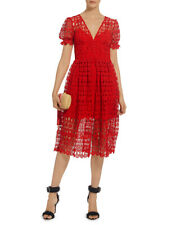 fa491102638e Self-Portrait Red Lace Puff Sleeves Midi Dress Sz US 8 / UK 12