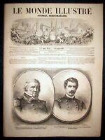 MONDE ILLUSTRE Port Royal Guerre Secession ETATS UNIS Bal Compiegne gravure 1861