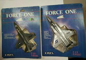 Rare set Vintage 1986 ERTL Force One F-16 Falcon & MD F-15 Eagle Die-cast metal