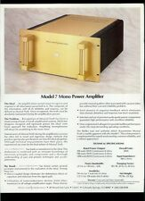 Rare Factory Rowland Research Model 7 Mono Power Amplifier Dealer Sheet Page