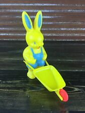 Vintage Plastic Easter Bunny Decoration Toy Display With Wheelbarrow