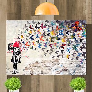Banksy Butterfly Brains Girl Graffiti Framed Canvas Art Print Ready To Hang
