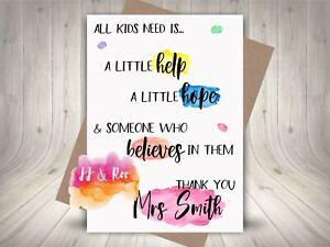 Personalised Teacher Thank You Card: Teacher Childminder Nursery Leaving Gift