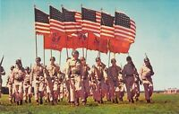 MN Camp Ripley US National Guard Training COLOR GUARD 6 US Flags postcard A84