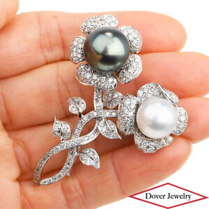 Estate 2.80ct Diamond Tahitian Pearl 18K Gold Flowers Large Pin 20.1 Grams NR