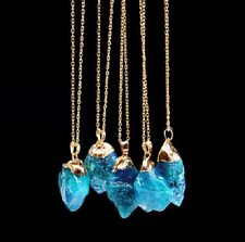 DF2 Natural Quartz Crystal Teal Blue Green Gold Plated Pendant Necklace