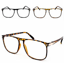 Vintage Rectangle Frame Geek 1950's Clear Lens Glasses Black Eyeglasses Unisex