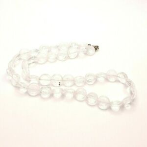 Clear Glass Bead Necklace See Through Jewellery Translucent Necklace