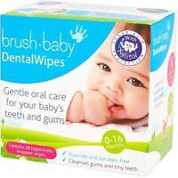 Brush Baby Dental Wipe Sleeve 0-16 Months - 28 Wipes Per Pack x 2 Pack