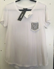 NWT Ladies Authentic DKNY Ladies Studded Pocket Top Tshirt size Large