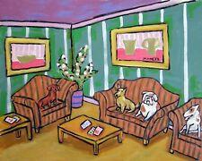 bulldog jack russell irish terrier dachsund waiting room 8.5x11 glossy print new