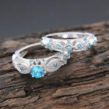 1.00ct Blue Topaz Engagement Wedding Ring Bridal Set 14k Solid White Gold