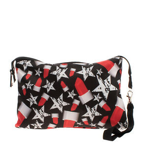NAICE COUTURE Clutch Bag Pouch Lipsticks & Stars Wristlet Strap Made in Italy